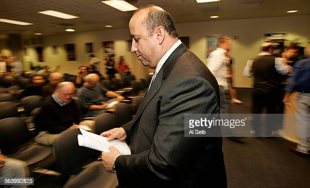 CA Dan Guerrero UCLA Director of Athletics leaves a press conference on the UCLA campus this afternoon after announcing that Karl Dorrell has been...
