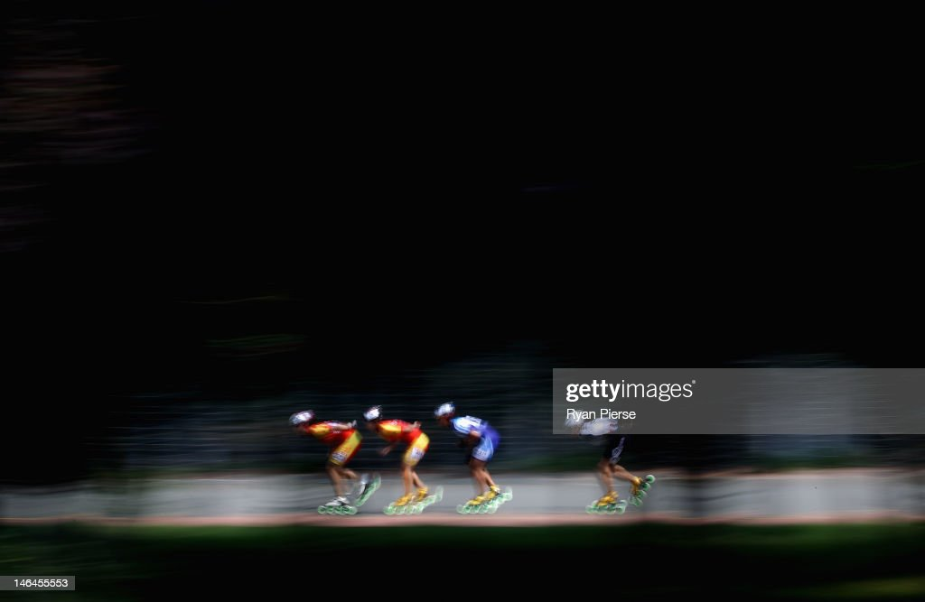 Dan Guo of China leads the pack during the Roller Skating Women's 10000m Points Final Run on Day 1 of the 3rd Asian Beach Games Haiyang 2012 on June 17, 2012 in Haiyang, China.