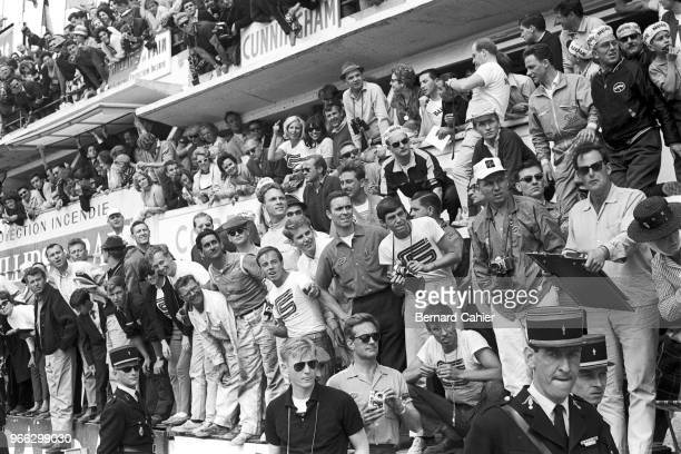 Dan Gurney, 24 Hours of Le Mans, Le Mans, 22 June 1964. Dan Gurney and all the Cobra team and supporters anxiously waiting for the checkered flag to...