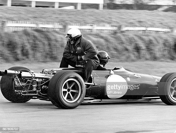 Dan Gurney and Bert Baldwin testing an Eagle racing car at Goodwood 1966