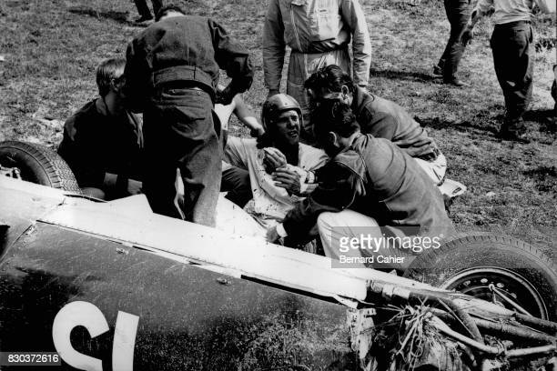 Dan Gurney BRM P48 1000 Km of Netherlands Zandvoort 06 June 1960 A brake system failure caused a serious accident for Dan Gurney who suffered a...