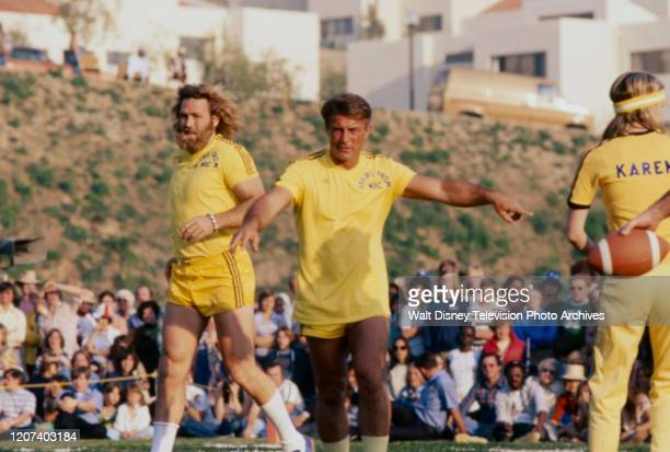 Dan Haggerty, Robert Conrad, Karen Grassle competing in the soccer competition on the ABC tv series 'Battle of the Network Stars II'.
