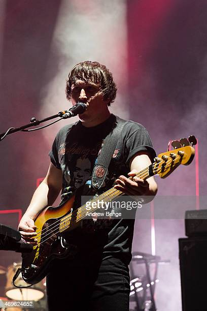 Dan Haggis of The Wombats performs on stage at Brixton Academy on April 13 2015 in London United Kingdom