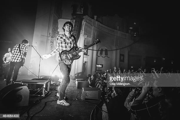 Dan Haig Charlie Simpson and Alex Westaway of Fightstar perform on stage at O2 Academy Brixton on February 27 2015 in London United Kingdom