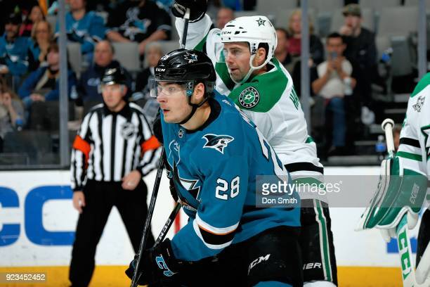 Dan Hamhuis of the Dallas Stars defends Timo Meier of the San Jose Sharks at SAP Center on February 18 2018 in San Jose California