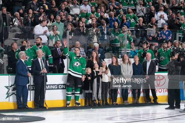 Dan Hamhuis of the Dallas Stars is honored on playing in his 1000th career game during a pregame ceremony before a game against the New York Rangers...