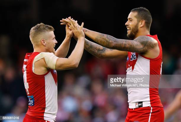 Dan Hannebery and Lance Franklin of the Swans celebrate during the 2017 AFL round 09 match between the St Kilda Saints and the Sydney Swans at Etihad...