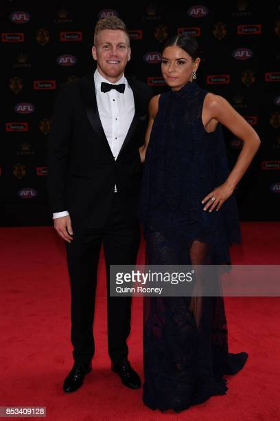 Dan Hannebery and wife Katie Hannebery arrive ahead of the 2017 Brownlow Medal at Crown Entertainment Complex on September 25 2017 in Melbourne...
