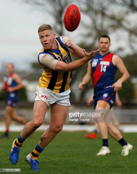 Dan Hannebery of Sandringham handballs during the round nine VFL match between Coburg and Sandringham at Piranha Park on June 02, 2019 in Melbourne,...