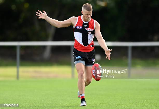 Dan Hannebery of the Saints kicks during a St Kilda Saints AFL training session at Maroochydore Multi Sport Complex on September 25 2020 in Sunshine...