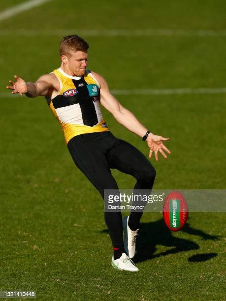 Dan Hannebery of the Saints kicks the ball during a St Kilda Saints AFL training session at RSEA Park on June 03, 2021 in Melbourne, Australia.