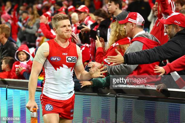 Dan Hannebery of the Swans thanks fans after winning the round 18 AFL match between the Sydney Swans and the St Kilda Saints at Sydney Cricket Ground...