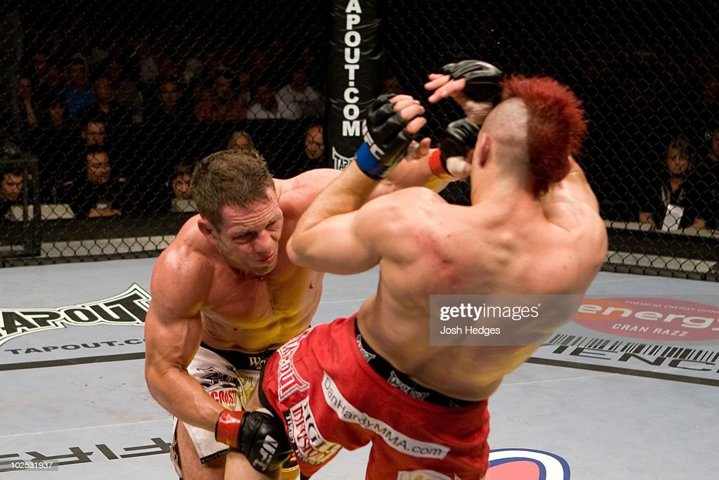 Dan Hardy (red shorts) def. Marcus Davis (black/white shorts) - Split Decision during UFC 99 at Lanxess Arena on June 13, 2009 in Cologne, Germany.