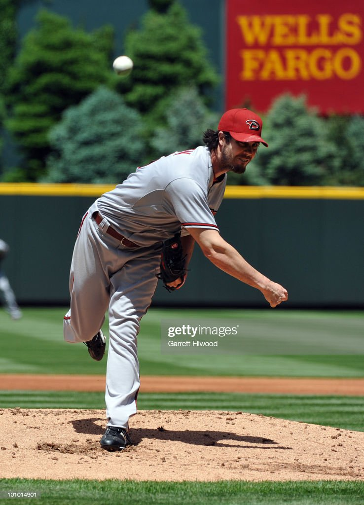 Dan Haren #15 of the Arizona Diamondbacks pitches against the Colorado Rockies during the game at Coors Field on May 27, 2010 in Denver, Colorado.