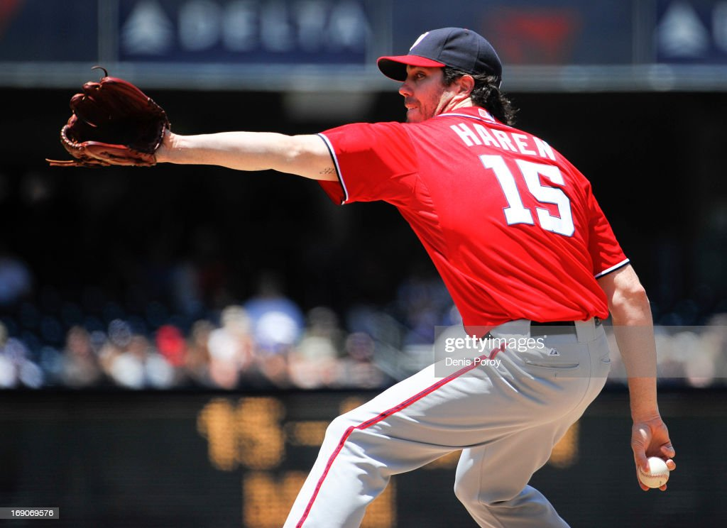 Dan Haren #15 of the Washington Nationals pitches during the first inning of a baseball game against the San Diego Padres at Petco Park on May 19, 2013 in San Diego, California.