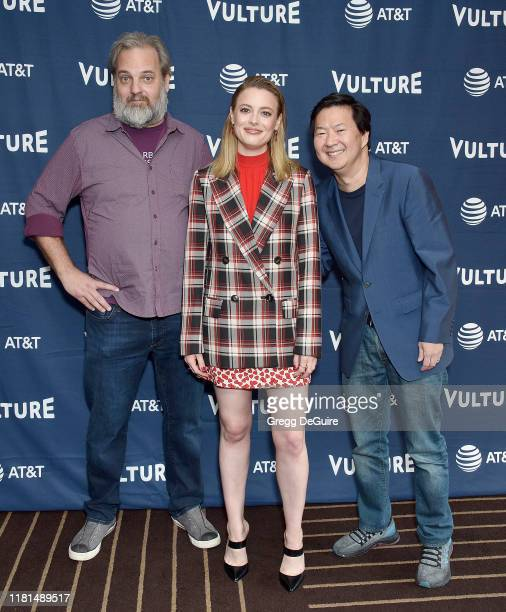 Dan Harmon, Gillian Jacobs, and Ken Jeong arrive at the Vulture Festival Los Angeles 2019 Day 2 at Hollywood Roosevelt Hotel on November 10, 2019 in...