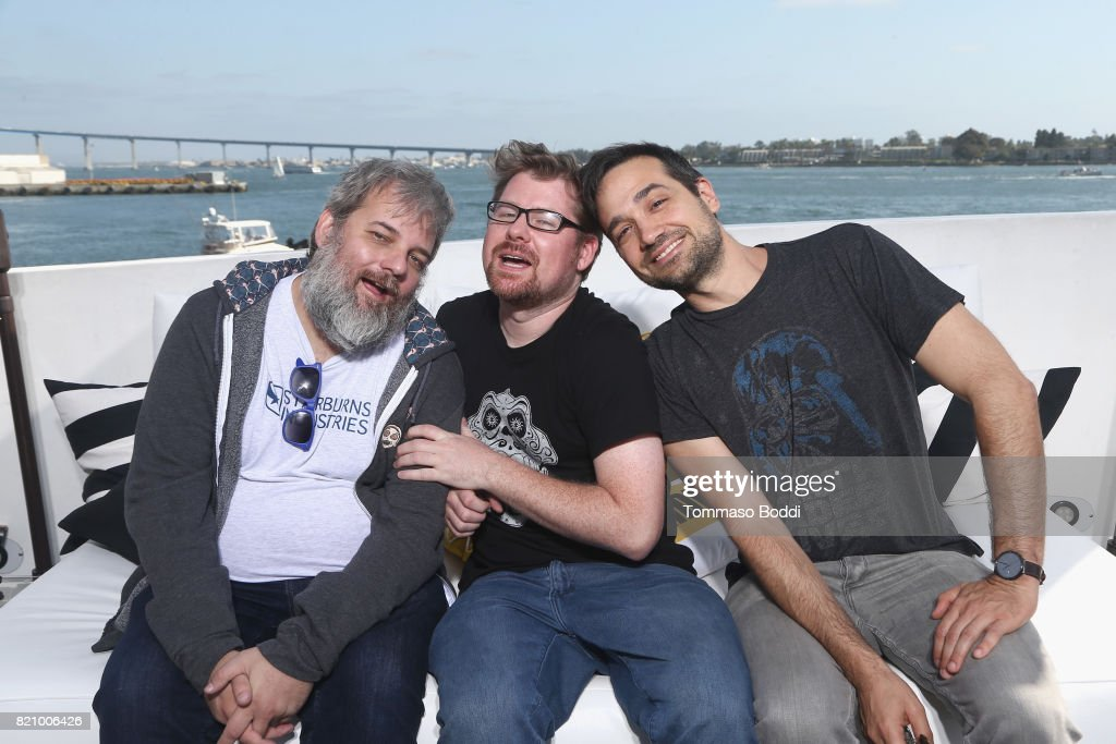 Dan Harmon, Justin Roiland and Ryan Ridley on the #IMDboat at San Diego Comic-Con 2017 at The IMDb Yacht on July 22, 2017 in San Diego, California.
