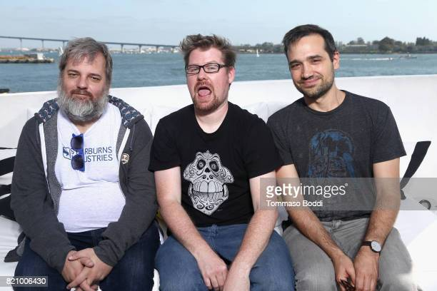 Dan Harmon Justin Roiland and Ryan Ridley on the #IMDboat at San Diego ComicCon 2017 at The IMDb Yacht on July 22 2017 in San Diego California
