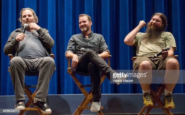 Dan Harmon Neil Berkeley and Spencer Crittenden attend the QA of the screening of 'Harmontown' at The WGA Theater on September 17 2014 in Beverly...