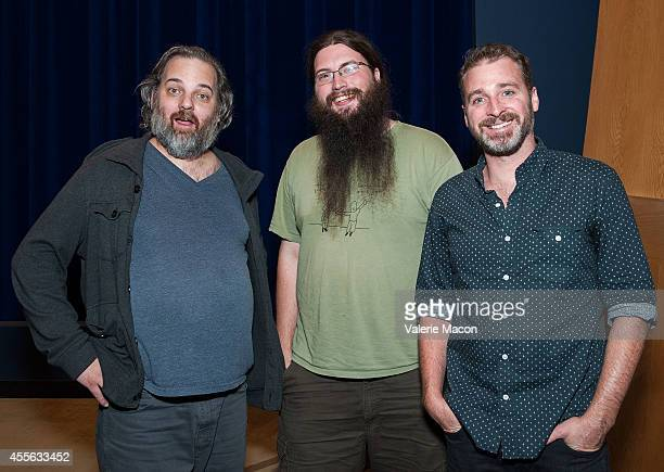 Dan Harmon Spencer Crittenden and Neil Berkeley attend the QA of the screening of 'Harmontown' at The WGA Theater on September 17 2014 in Beverly...