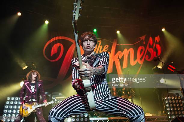 Dan Hawkins and Justin Hawkins of The Darkness perform at The Roundhouse on December 20 2015 in London England