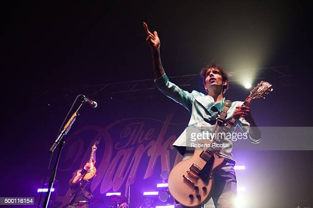 Dan Hawkins and Justin Hawkins of The Darkness perform on stage at O2 Academy Glasgow on December 5, 2015 in Glasgow, Scotland.