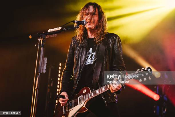 Dan Hawkins of the British rock band The Darkness performs on stage at La Riviera on January 30 2020 in Madrid Spain