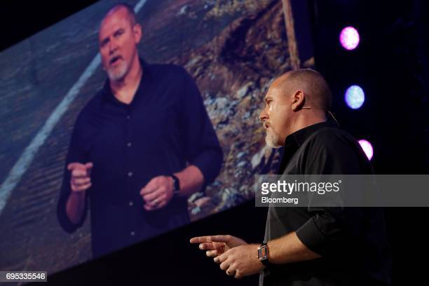 Dan Hay executive producer of UbiSoft Entertainment SA Montreal speaks while announcing the Farcry 5 video game during the company's event ahead of...