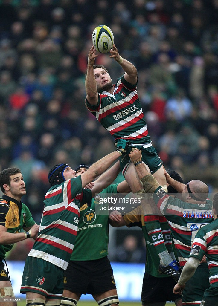 Dan Hemmingway of Leicester Tigers stretches to catch the ball at the lineout during the LV Anglo Welsh Cup match between Northampton Saints and Leicester Tigers at the Sixfields Stadium, on February 6, 2010 in Northampton, England.