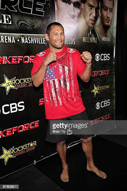 Dan Henderson attends ''StrikeForce'' MMA fighters at the open media workout at the Legends MMA Training Center on March 17, 2010 in Hollywood,...
