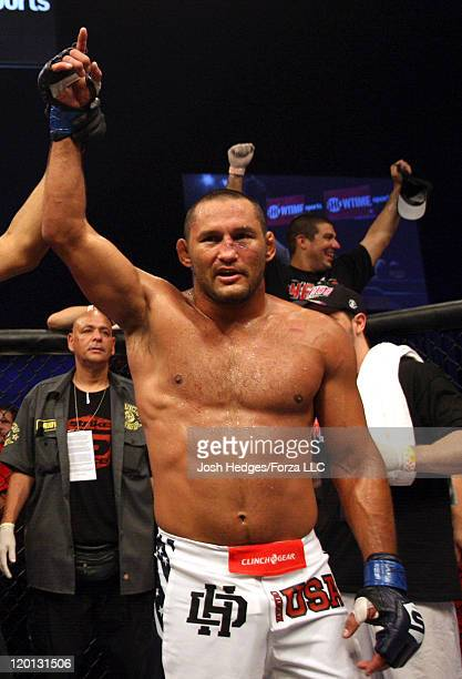 Dan Henderson celebrates after defeating Fedor Emelianenko by TKO in a heavyweight fight at the Strikeforce event at Sears Centre Arena on July 30,...