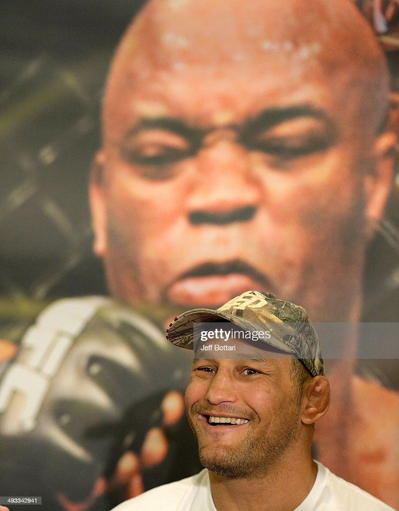 Dan Henderson speaks to the media during the UFC 173 Ultimate Media Day at the MGM Grand Garden Arena on May 22, 2014 in Las Vegas, Nevada.