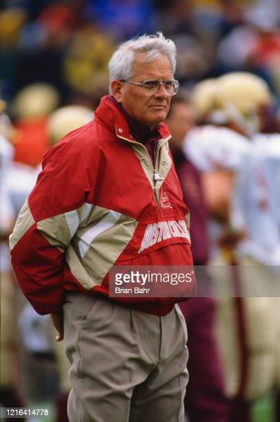 Dan Henning, Head Coach for the Boston College Eagles during the NCAA Independent Conference college football game against the University of Notre...