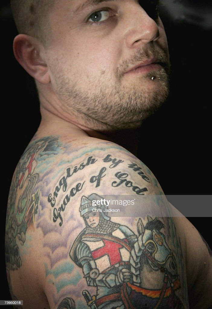 Dan Hoare poses for a portrait displaying his St Georges Tattoo at the Capital Radio St Georges Day Recording at Ye Old St Georges Pub in Beckenham on April 23, 2007 in London, England. Dan's tatoos took a total of 13 hours to complete.