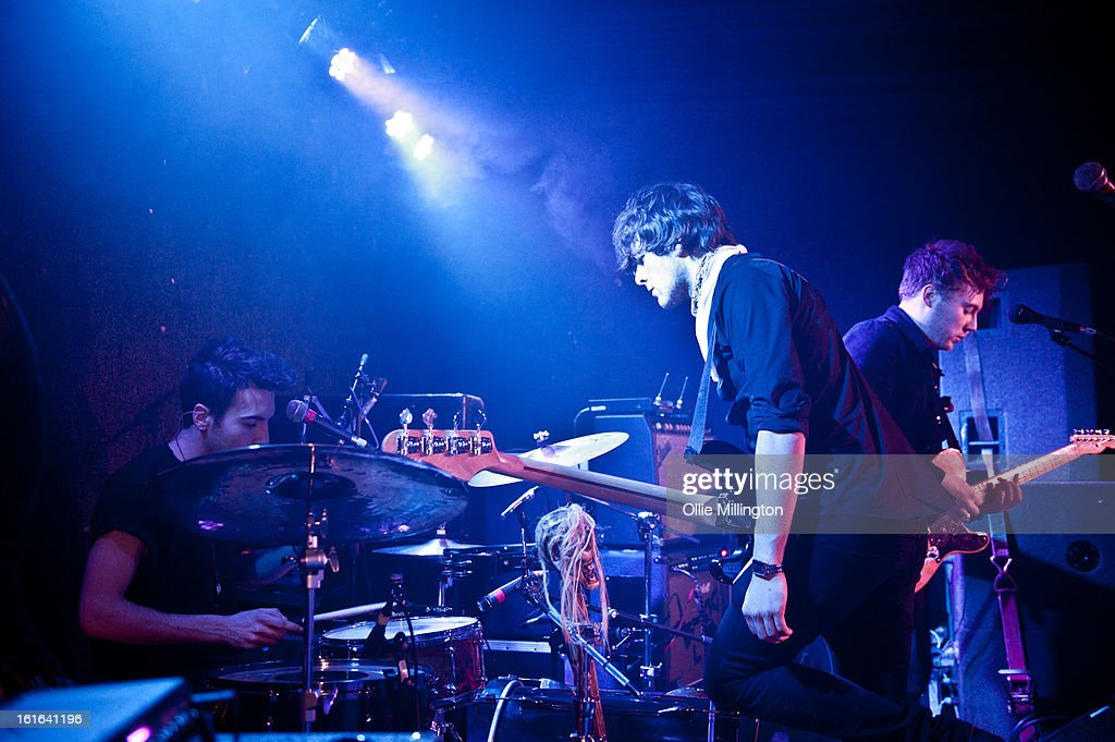 Dan Holyoak, James Stone and Andy Stone of Little Night Terrors perform on stage at The Bodega Social Club on February 13, 2013 in Nottingham, England.