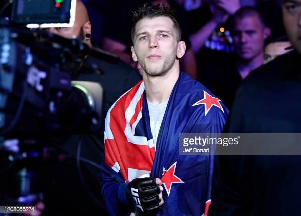 Dan Hooker of New Zealand prepares to fight Paul Felder in their lightweight during the UFC Fight Night event at Spark Arena on February 23, 2020 in...
