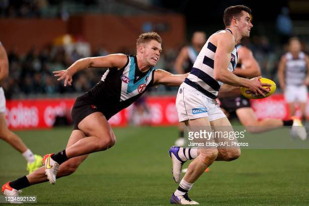 Dan Houston of the Power tackles Mark OConnor of the Cats during the 2021 AFL Round 23 match between the Adelaide Crows and the North Melbourne...
