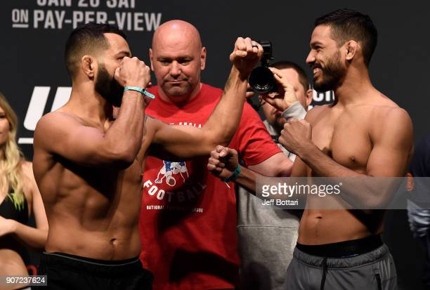 Dan Ige and Julio Arce face off during the UFC 220 weighin at TD Garden on January 19 2018 in Boston Massachusetts