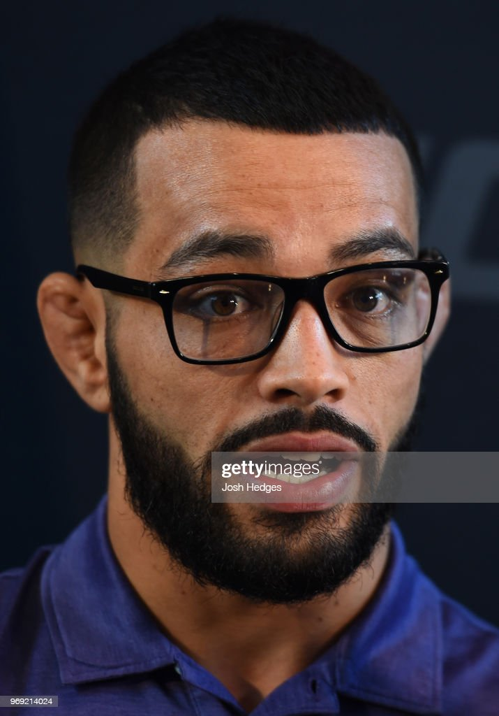 Dan Ige interacts with media during the UFC 225 Ultimate Media Day at the United Center on June 7, 2018 in Chicago, Illinois.