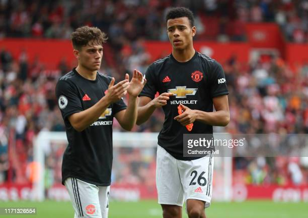 Dan James and Mason Greenwood of Manchester United after the Premier League match between Southampton FC and Manchester United at St Mary's Stadium...