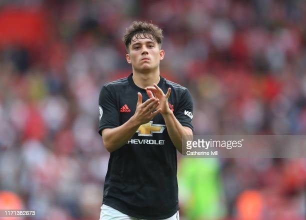 Dan James of Manchester United applauds after the Premier League match between Southampton FC and Manchester United at St Mary's Stadium on August 31...