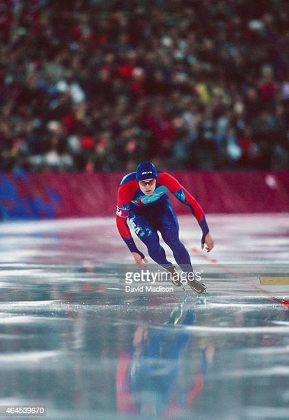 Dan Jansen of the USA competes in the Men's 1000 meter event of the Long Track Speed Skating competition of the 1994 Winter Olympics on February 18...