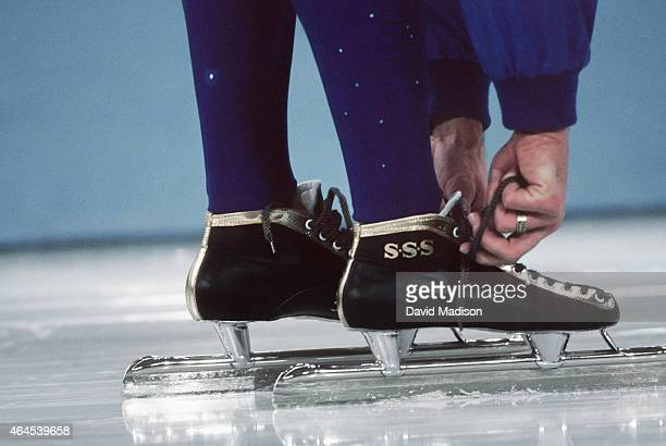 Dan Jansen of the USA laces his skates prior to the Men's 1000 meter event of the Long Track Speed Skating competition of the 1994 Winter Olympics on...