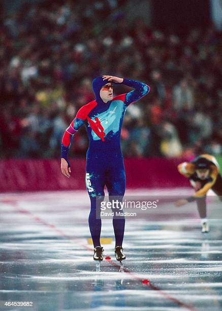 Dan Jansen of the USA looks at the scoreboard after skating in the Men's 1000 meter event of the Long Track Speed Skating competition of the 1994...