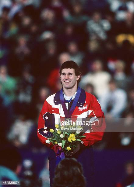 Dan Jansen of the USA participates in the awards ceremony for the Men's 1000 meter event of the Long Track Speed Skating competition of the 1994...