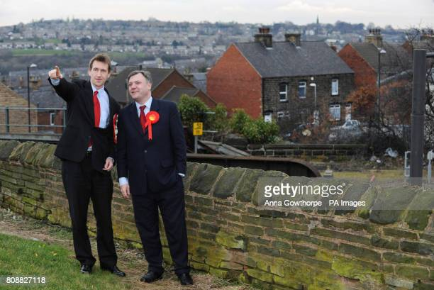 Dan Jarvis Labour's candidate for the Barnsley Central byelection on the campaign trail in Barnsley South Yorkshire with Labour Shadow Chancellor Ed...