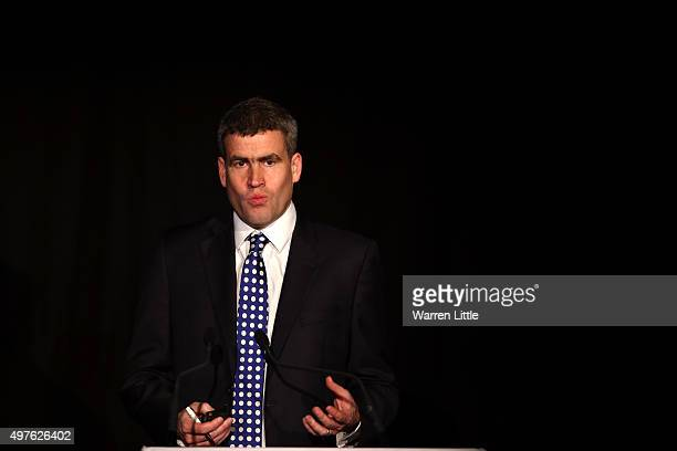 Dan Jones Head of Sports Buiness Group Deloitte speaks during day one of the Host Cities Summit at the Faimont Hotel on November 18 2015 in Dubai...