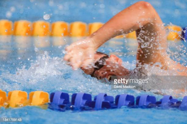 Dan Jorgensen of the United States competes in the Men's 400 meters freestyle swimming event of the 1992 Summer Olympics held on July 29, 1992 at the...