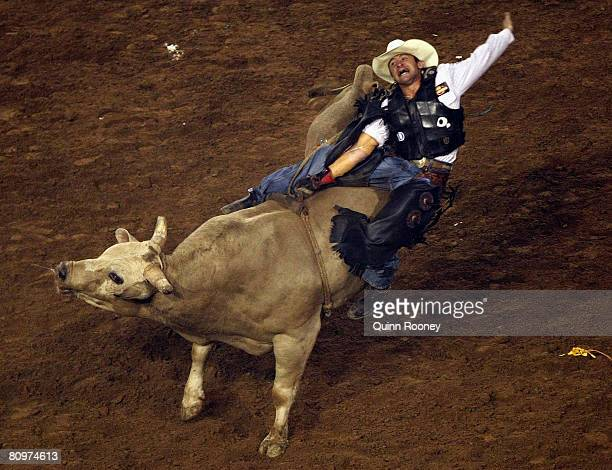 Dan Kelly from Queensland competes in the Bull Riding during the State of Origin International Rodeo 2008 at Rod Laver Arena on May 3 2008 in...
