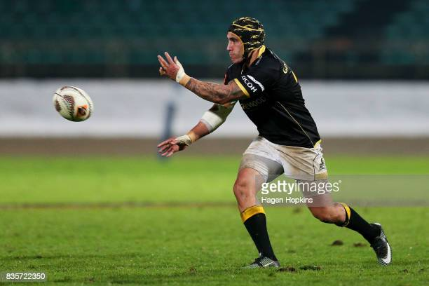 Dan Kirkpatrick of Wellington passes during the round one Mitre 10 Cup match between Manawatu and Wellington at Central Energy Trust Arena on August...